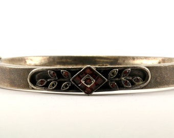 Vintage Floral Bangle Bracelet 925 Sterling Silver BR 2435