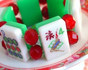 Vintage Lucite 3 Toned Mah Jong Bracelet / Vintage Tiles /  3 Layer Tiles / Green / White / Clear / Red Crystals / Funky / Chic / OOAK / MED