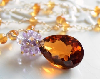 Fall Bridal Necklace, Burnt Orange Maderia Citrine Lavender Pink Amethyst Gemstones, Gold Wedding Jewelry - Rich Autumn - Free Shipping
