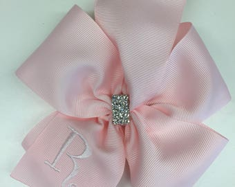 Large Pink, Monogram Hair Bow, Rhinestone Bling, Girls Hairbows, Formal Boutique, Clip Bows, Ribbon Portraits, Monogrammed Initial, Custom