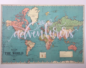 World Map // Vintage Style Map // Screen Printed Map // Let's Be Adventurers