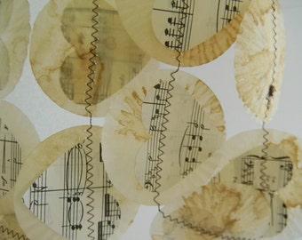 Vintage music sheet Heart Garland /mini cupcake liners