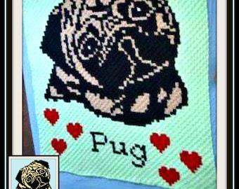 Pug C2C Graph, Pug Crochet Pattern, Pug Afghan, Pug Corner to Corner