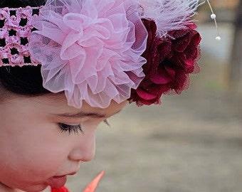 Valentine Crochet Headband,Baby Valentine Headband,Toddler Valentine Headband,Flower Girl Headband,Baby First Photo,Birthday Headband