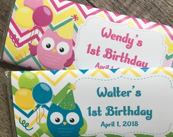 Owl Themed Birthday Party Favors-Candy Wrapper favors-pack of 10-WRAPPERS ONLY-pink owl favor-blue owl favor-girls owl party-boys owl party