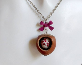 Necklace pendant natural Hazelnut ribbon Red