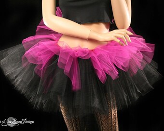 Layered two tone gothic adult dance tutu Black and fuchsia halloween -- You choose size -- Sisters of the Moon