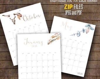 "2018 Wall Calendar, Watercolor Boho, Printable Monthly Calendar, 8"" x 10"" Each month C103"
