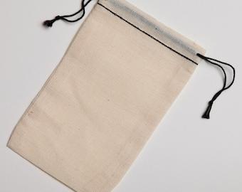 25 3.25x5  Black Hem and Black Cotton Muslin Double Drawstring Bags