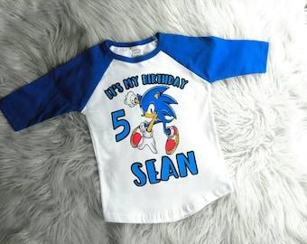 Sonic the hedgehog birthday shirt, Sonic birthday shirt, boy birthday shirt