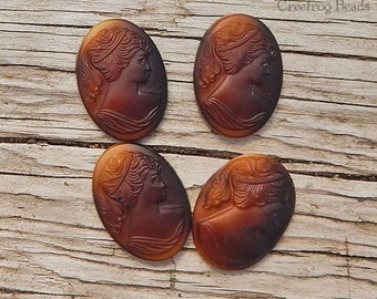 Vintage Cameos - 25x18 mm Lady Cabochon - Brown Glass Woman in Profile (choose 2 pc or 4 pc)