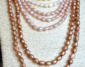 54 inches 7x9mm Rice Nugget Hand Knotted Pearl Necklaces Natural Freshwater Pearl Necklace #727