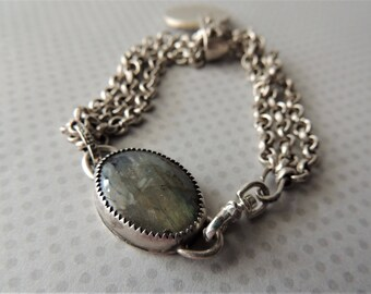 Artisan Jewelry, Multi Strand Bracelet, Labradorite Bezel, Recycled Silver Disk, Silver Chain Bracelet, Rustic Handcrafted, Modern Jewelry
