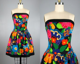 Vintage 1980s Cotton Floral Dress 80s Black Floral Strapless Mini Dress by A.J. Bari Size XS