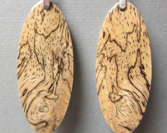 Sindora Burl Exotic Earrings Exotic Wood Long Dangle Handcrafted repurposed ExoticWoodJewelryAnd Ecofriendly