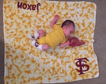 FSU Florida State University Baby Blanket, Personalized, Name, Tie Dye & Hand Painted, Florida State Baby Gift, Seminoles Baby Gift, Noles