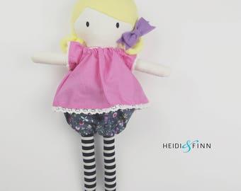 NEW OOAK handmade stuffed doll pink pastel  Mini Pals soft rag doll keepsake gift  ready to ship