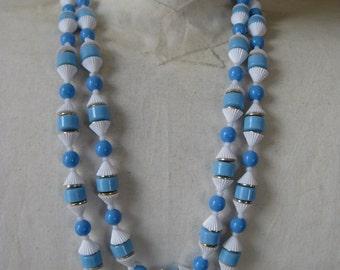 Blue White Gold Necklace Plastic Single Strand Hong Kong
