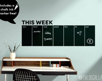 Chalkboard Wall Decal Weekly Calendar - This Week Blackboard Calendar Wall Decal Free Chalk Ink Marker CHK-WCAL3