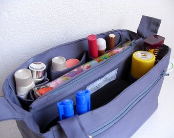 Bag organizer - Purse organizer insert in Grey fabric