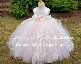 Ivory Pink Flower Girl Dress Full Length  - Vintage Lace Flower girl Tutu Dress- Christening Tutu