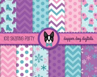 Ice Skating Digital Paper Pack - Commercial Use, Scrapbook Papers