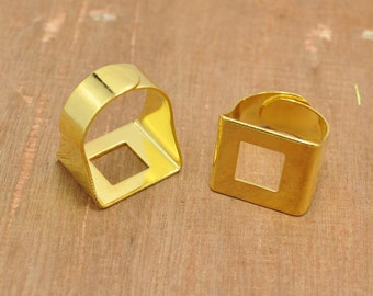 10 Pieces Gold Ring Blank,Square Ring, Flat Ring Blank, Adjustable Ring - 15x18mm.