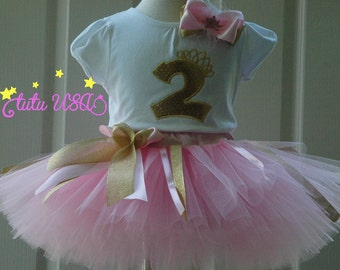 pink and gold 2nd birthday outfit, second birthday, 2 year old,baby tutu,baby girl outfit,2nd birthday,shirt, birthday outfit,personalize