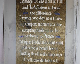 Full Serenity Prayer-Dark Stained Board/White font/Blue accents-Serenity Prayer