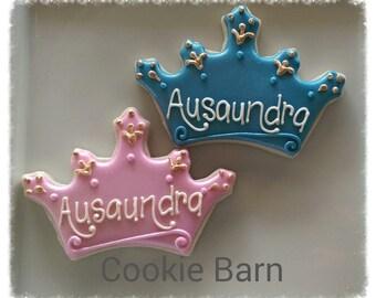 Princess Tiara Crown Birthday Custom Decorated Sugar Cookies