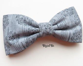 Men's Dusty Blue Slate Blue Grey Blue Bow Tie Dusty Blue Slate Blue Grey Blue Necktie