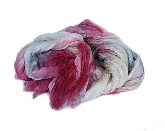 vine silk scarf - Crushed berries - vine, pink, red silk, blue, cream scarf.
