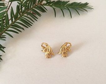 golden tulips earrings | small tulips studs