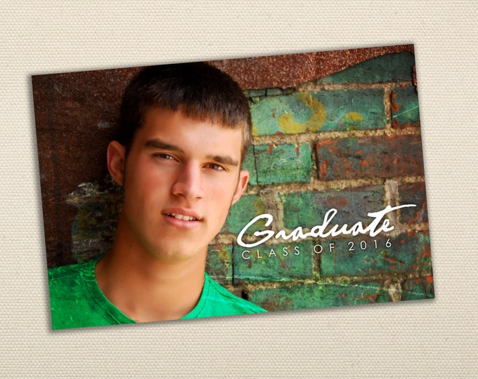 AFFORDABLE GRADUATION ANNOUNCEMENT - Photo Graduation Announcement - Girl Announcement - Boy announcement - Class of 2016, Modern,  Printed