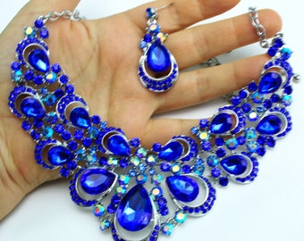 Blue Rhinestone Austrian Crystal Choker Necklace Earring Set Pageant Prom Bridal