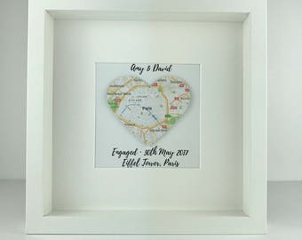 Framed map heart   engagement gift   travel   personalised gift   wedding   anniversary