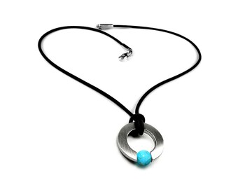 Men's Necklace with Tension Set Turquoise in Stainless Steel