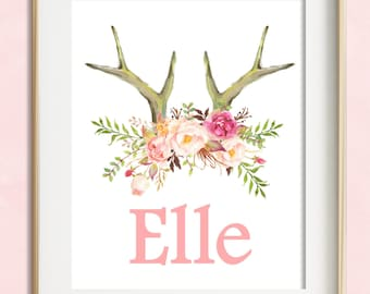 Personalized Boho Tribal Nursery Print, Boho Nursery, Custom Name Print, Baby Girl Nursery Wall Art, Deer Antler Print, Kids Room Decor