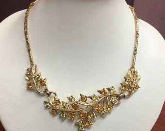Vintage Gold Tone Rhinestone Leaf Choker Necklace