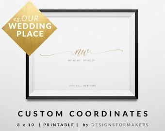 Custom Coordinates Print - Personalized Gift - Valentines Gift - Anniversary Gift - Wedding Gift - Latitude Longitude - Minimal Poster 10
