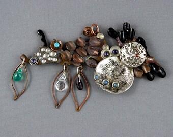 "Weird necklace.  Statement necklace. Artisan organic jewelry . ""Dancing pendant"""