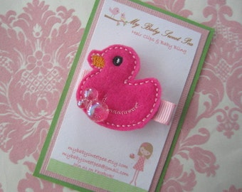 Girl hair clips - duck hair clips - girl barrettes