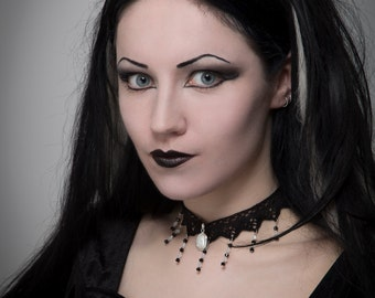 Gothic necklace lace choker, Black white stripes, burlesque victorian steampunk - FEATURED in Gothic Beauty magazine - ANGELIQUE