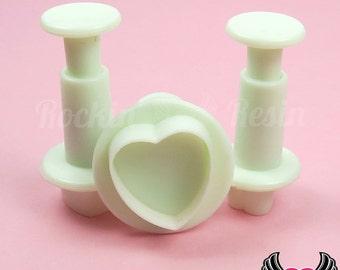 3 pc HEART Plunger Cutters, Fondant Mold Cookie Cutters, Sugarcraft Plunger Cutter, Polymer Clay Shape Heart Cutter, USA Shipping