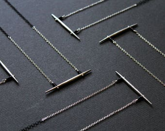 Black and silver modern necklace horizontal bar necklace edgy jewelry minimal long necklace nu goth spike pendant -Taylor N. LIMITED EDITION