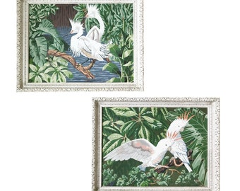 Vintage 1950s Pair of Paint by Number Paintings Snowy Egrets / Storks / Cranes / Cockatoos Tropical Birds