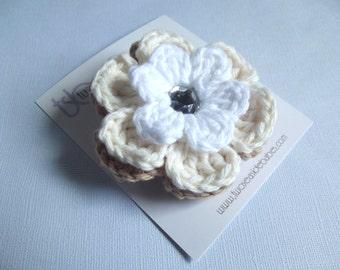 Crochet Flower Hair Clip Crochet Flower Barrette Crochet Flower Alligator Clip Khaki Hair Clip Cream White Hair Clip Baby Girls Toddler Girl