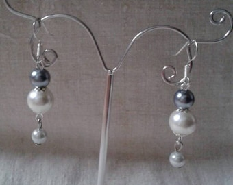 grey and White Pearl Earrings