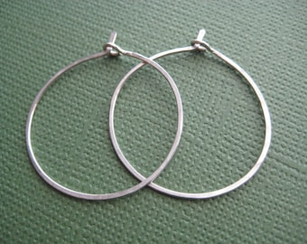 Hoop Earrings - One Inch Hoop Earrings - 14k Gold Fill Earrings - Sterling Silver Earrings
