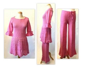 Vintage XS S Go-Go, robe et pantalon rose tenue tricot Crochet Mod